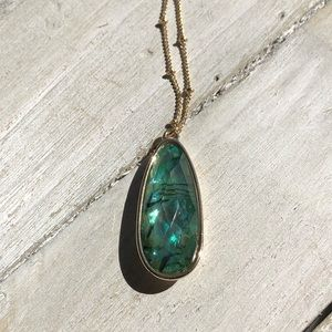 Gold necklace with green Abalone Resin Pendant